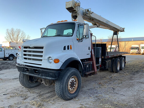 Terex BT3063, Hydraulic Crane mounted behind cab on 2000 Sterling LT7500 6x6 Flatbed Truck jump to s