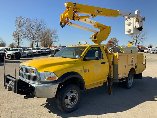 Altec AT37G, Articulating & Telescopic Bucket Truck mounted behind cab on 2011 Dodge Ram W5500 4x4 S