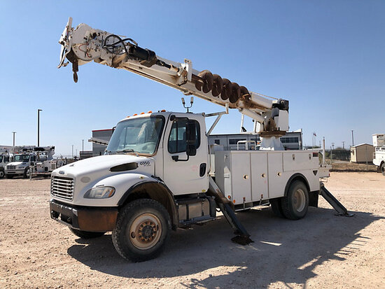 Altec DM47B-TR, Digger Derrick rear mounted on 2013 Freightliner M2 106 4x4 Utility Truck Runs, Move