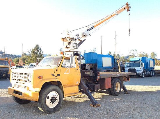 RO 80-45, Hydraulic Truck Crane mounted behind cab on 1988 GMC C7000 Service Truck runs, moves, oper