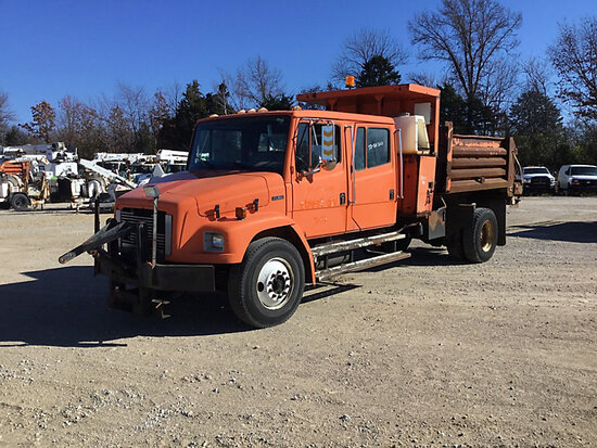 2001 Freightliner FL80 Crew-Cab Dump Truck Not Running, Bad Batteries, Condition Unknown. Rust and B