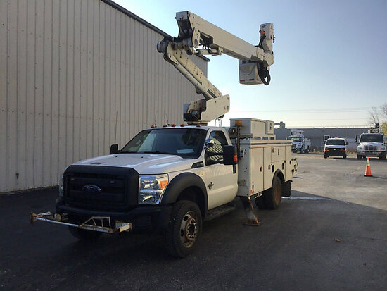 Altec AT40-MH, Articulating & Telescopic Material Handling Bucket Truck mounted behind cab on 2014 F
