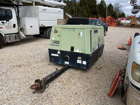 2008 Sullair 425 JD Air Compressor, trailer mtd Runs, Makes Air, Missing Wheel Assembly) (No Title