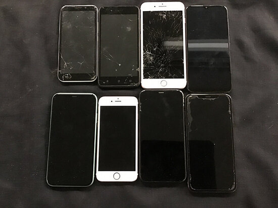 8 cellphones | possibly locked | some damaged | reactivation status unknown | 5 are iPhones | 1 Sams