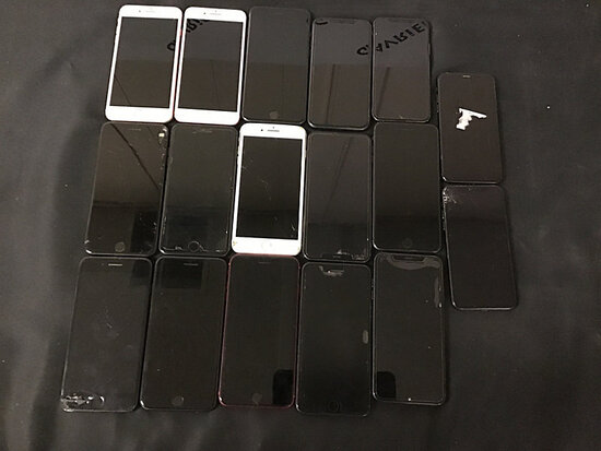 17 iPhones | possibly locked | some damaged | reactivation status unknown (Used ) NOTE: This unit is