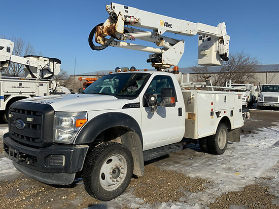 (Des Moines, IA) Altec AT37G, Articulating & Telescopic Bucket Truck mounted behind cab on 2013 Ford