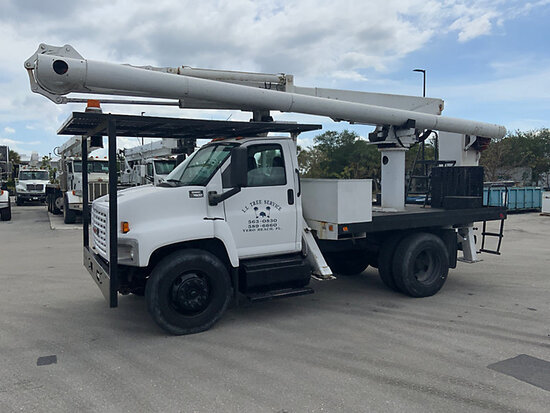 (West Palm Beach, FL) Altec LRV-55, Over-Center Bucket Truck rear mounted on 2005 GMC C7500 Flatbed