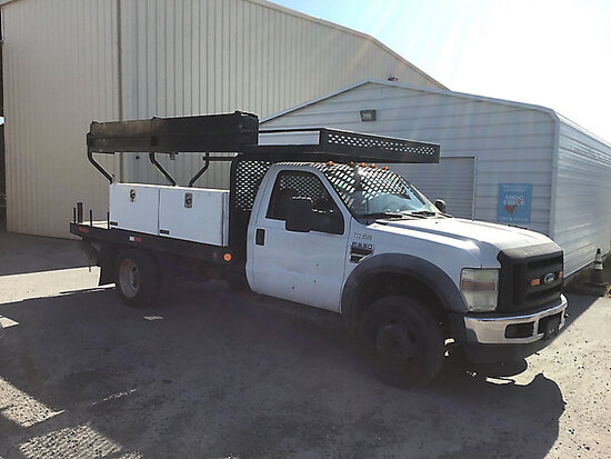 2010 FORD F550 Flatbed Truck Runs and moves, no passenger window, May be subject to arb regulations