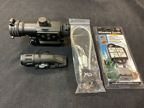 Red field red dot scope | inforce flashlight for gun | 2 new gun locks NOTE: This unit is being sold