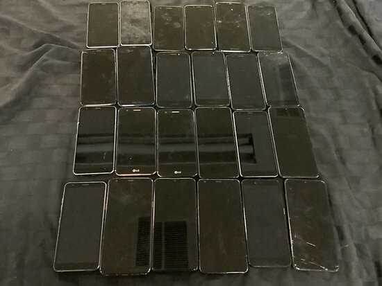 24 cellphones | LG | Motorola | T mobile | cool pad | possibly locked | some have damage | activatio