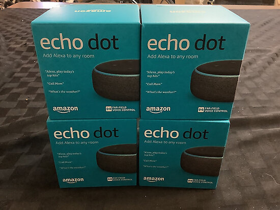 4 new in box echo dots 3rd generation (New) NOTE: This unit is being sold AS IS/WHERE IS via Timed A