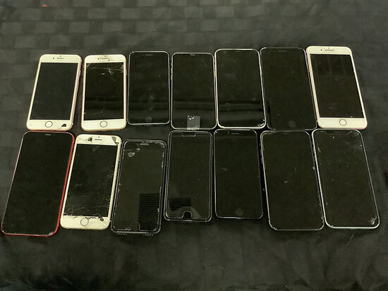 14 iPhones | possibly locked | some have damage | activation availability unknown (Used ) NOTE: This