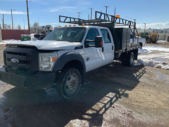 (Aurora, CO) 2011 Ford F550 4x4 Crew-Cab Flatbed/Service Truck runs and moves, check engine light on