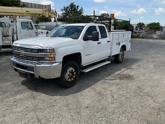 (West Palm Beach, FL) 2015 Chevrolet C3500HD 4x4 Crew-Cab Service Truck Runs , operates. Small dents