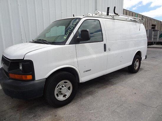 2006 Chevrolet G2500 Cargo Van runs and moves, minor body damage.