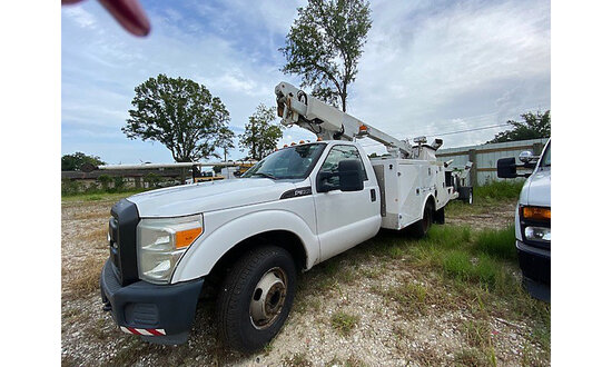Altec AT200A, Telescopic Non-Insulated Bucket Truck mounted behind cab on 2012 Ford F350 Service Tru