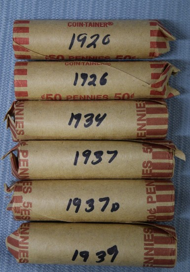 6 ROLLS OF EARLY 1900'S PENNIES!