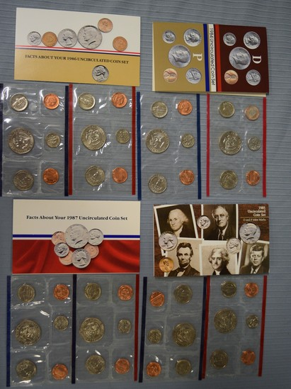 4 SETS OF UNCIRCULATED COINS WITH D&P MARKS!
