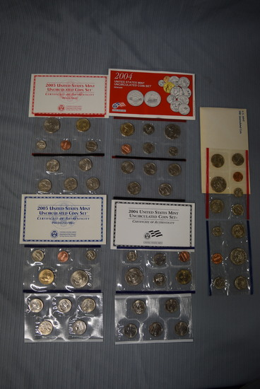 5 SETS OF UNCIRCULATED US MINT COINS!