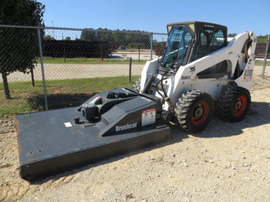 "BOBCAT A300 SKID LOADER W/ BOBCAT BRUSHCAT 72"" CUTTER SN 526411115"