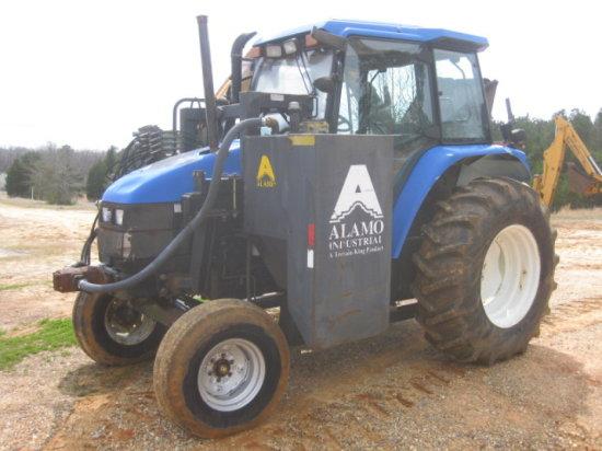 NEW HOLLAND TS90 CAB/AIR TRACTOR W/ ALAMO HYD. BOOM CUTTER SN
