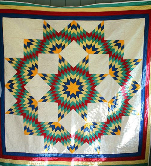 "82"" x80"" Multi color Lone Star hand sewn quilt"