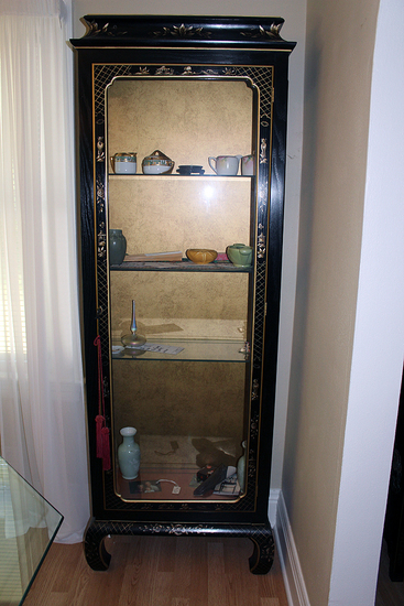 "26"" W x 78"" Tall  glass doored front double glass side oriental lighted cabinet"