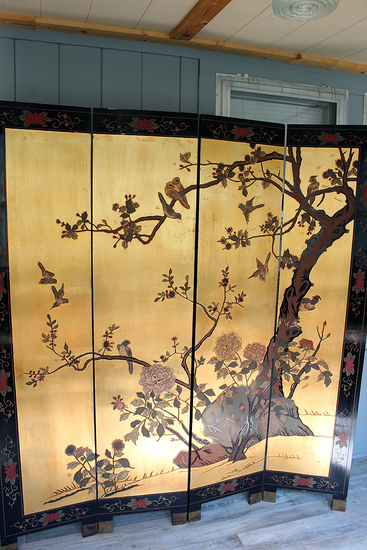 "4 panel 6' tall x 16"" wide each panel Oriental dressing screen some damage on edges"