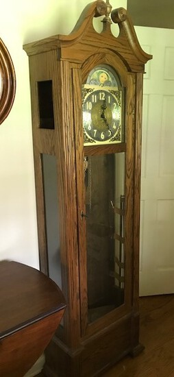 "3 weight oak grandfather clock with key and pendulum, complete 80"" tall x 20"" wide"