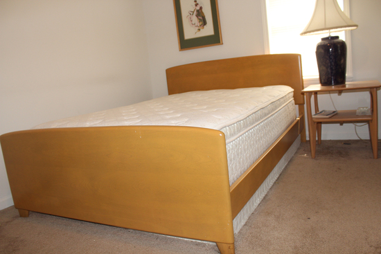 Heywood Wakefield full size blonde bed with mattress and springs