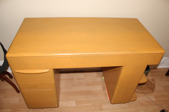 Heywood Wakefield blonde home office desk and chair 1 handle needs reattached