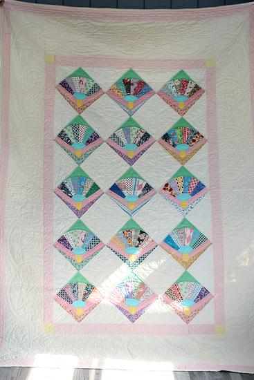 "67"" x 96"" Hand sewn Fan quilt"