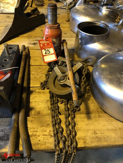 CHAIN FALL 1,000 LB CAPACITY AND A 20 TON HYDRAULIC BOTTLE JACK