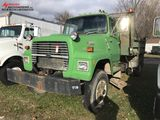 1990 FORD L8000 SINGLE AXLE DUMP TRUCK, FORD 240-HP DIESEL ENGINE, AUTO TRANS, 12' BELLY PLOW, HYDRA