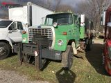 1985 FORD 8000 SINGLE AXLE DUMP TRUCK, 3208 CAT DIESEL, AUTO TRANS, 12' BELLY PLOW, FRONT MOUNT FOR