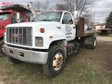 1995 GMC TOP KICK FLATBED TRUCK, 8' X 20' BED, 3116 CAT DIESEL ENGINE, 6-SPEED MANUAL TRANS, 461,474