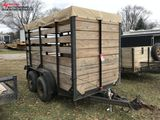 ASSEMBLED TANDEM AXLE TRAILER, 5' X 10' WITH 6' WOOD SIDES, SWING DOOR, CANVAS TOP, 2'' BALL, SELLS