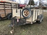 ASSEMBLED TANDEM AXLE TRAILER, WOOD SIDES, REAR GATE, 12' LONG, 6' WIDE, SELLS WITH WEIGHT SLIP 1640