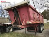 2004 TRI-AXLE ASSEMBLED ROCK TUB DUMP TRAILER, ELECTRIC TARP, FRAME IS CRACKED/BROKEN AWAY FROM FRON