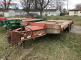 2008 INTERSTATE TANDEM AXLE  EQUIPMENT TRAILER, 40-TON, 8' X 19' WITH 5' BEAVERTAIL, FOLD DOWN RAMPS