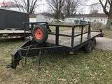 1966 ASSEMBLED TANDEM AXLE TRAILER, 8' X 17', FRONT 1/2 RAIL, NEW DECK, BRAKES, LIGHTS, PINTLE HITCH