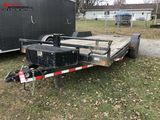 2015 LOAD TRAIL TANDEM AXLE EQUIPMENT TRAILER, 7' X 16' WITH 4' BEAVERTAIL, FOLD DOWN RAMPS, ELECTRI