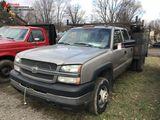 2003 CHEVY SILVERADO 4-DOOR CREW CAB TRUCK, DUALLY, 6.6L DURAMAX DIESEL, 4X4, AUTO TRANS, SERVICE TR