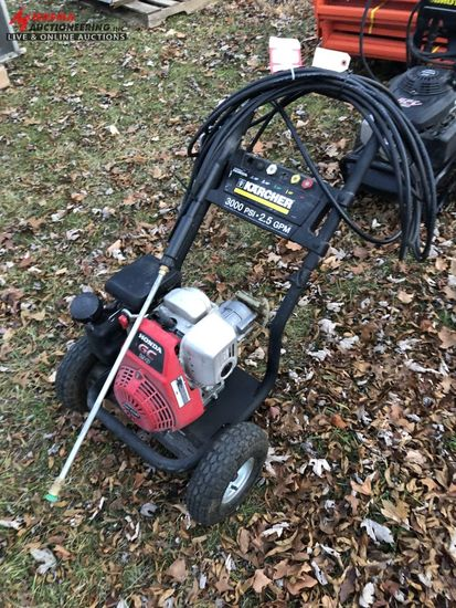 KARCHER 3000 PSI POWER WASHER, 2.5 GPM, HONDA GAS ENGINE, 50' HOSE WITH WAND, RUNS