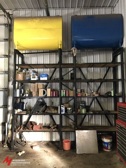 MOTOR OIL AND TRANSMISSION DISTRIBUTION SET UP WITH (2) STEEL 500 GALLON TANKS (1 FOR OIL, 1 FOR TRA