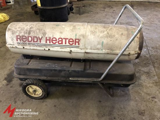 REDDY HEATER, 150,000 BTU PORTABLE KEROSENE JOBSITE HEATER WITH 120V FORCED AIR FAN.