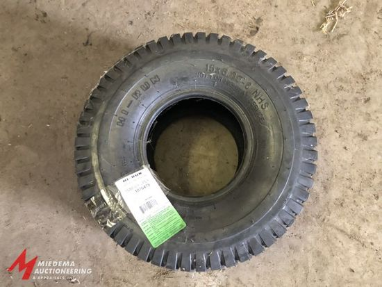 HI-RUN SIZE 15X6.00-6 NHS LAWN AND GARDEN TIRE, APPEARS TO NEVER BEEN USED.