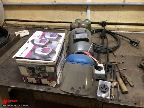 ASSORTED WELDING HELMETS, EXTENSION CORDS, TORCH PARTS, GLOVES, WELDING CHIPPING HAMMERS, ETC.