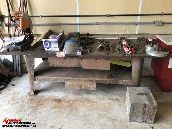 WELDING TABLE, 103'' LONG X 37'' DEEP X 33-1/2'' TALL, CONTENTS NOT INCLUDED