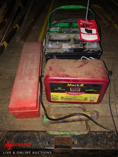 FENCE CHARGER, WARNING TRIANGLE KIT, LARGE PIN, USED BATTERIES [2]